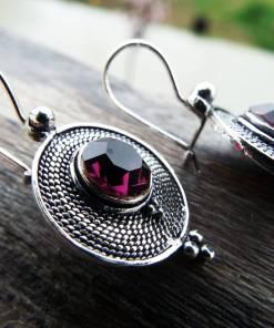 Amethyst Earrings Silver Drop Dangle Gemstone Handmade Sterling 925 Purple Gothic Dark Jewelry