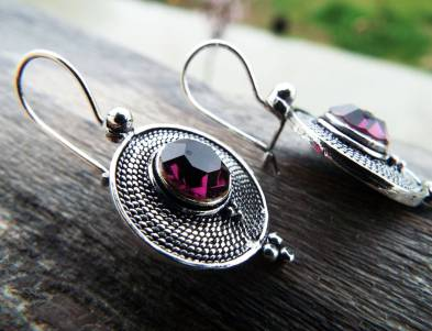 Amethyst Earrings Silver Drop Dangle Gemstone Handmade Sterling 925 Purple Gothic Dark Jewelry