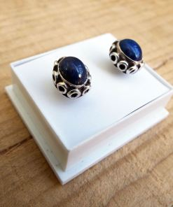 Lapis Lazuli Earrings Studs Gemstone Silver Handmade Stone Sterling 925 Gothic Dark Antique Vintage Bohemian Jewelry