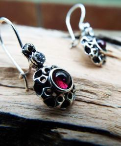 Earrings Garnet Drop Dangle Flower Red Gemstone Silver Floral Handmade Sterling 925 Gothic Dark Vintage Antique Jewelry
