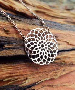 Flower of Life Seed of Life Pendant Rose Gold Handmade Protection Stainless Steel Ancient Symbol Necklace Jewelry Floral Boho