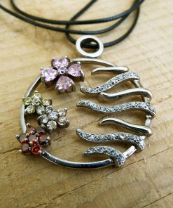 Flower Pendant Silver Handmade Necklace Sterling 925 Zircon Floral Jewelry Boho Symbol