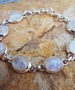 Moonstone Bracelet Silver Cuff Dangle Chain Sterling 925 Handmade Gemstone Gothic Dark Antique Vintage Jewelry