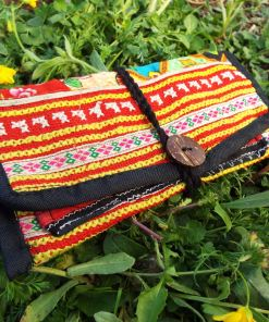 Tobacco Pouch Cotton Handmade Aztec Fabric Lotus Flower Case Pocket Hand Stitched Hippie Boho