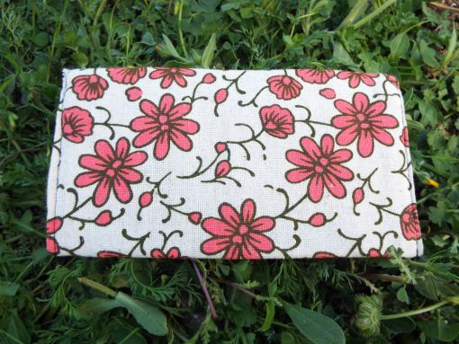 Tobacco Pouch Cotton Handmade Flower Floral Fabric Case Pocket Hand Stitched Hippie Boho