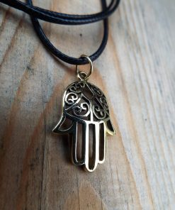 Fatima Hand Hamsa Pendant Handmade Necklace Bronze Symbol Jewelry