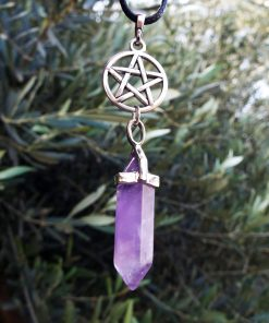 Pendulum Amethyst Pendant Pentagram Star Gemstone Pointer Silver Necklace Handmade Jewelry