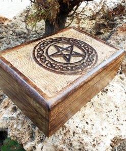 Pentagram Box Star Wiccan Magic Witch Gothic Handmade Mango Tree Wood Carved Floral Eco Friendly Ritual Dark Trinket Chest