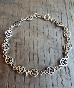 Pentagram Bracelet Silver Handmade Sterling 925 Gothic Dangle Wiccan Jewelry