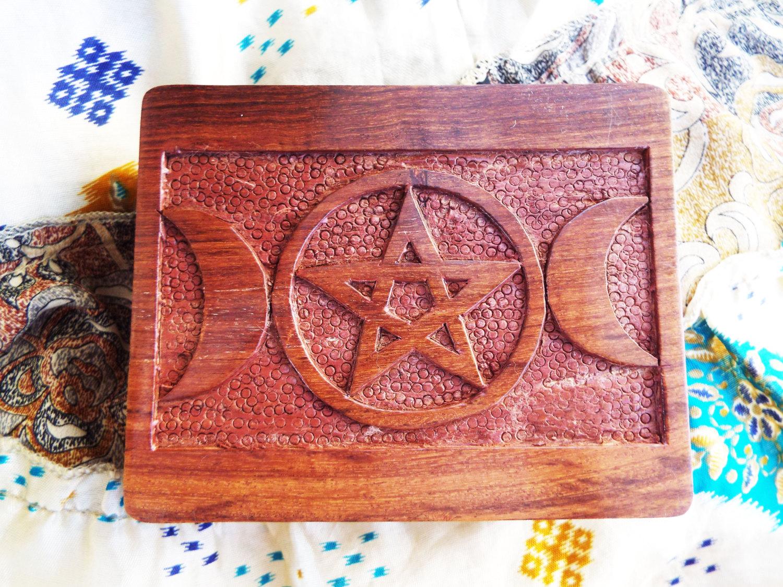 Pentagram Triple Moon Goddess Box Wooden Jewelry Handmade Carved Home Decor Trinket Gothic Wiccan Magic Pagan Treasure Chest