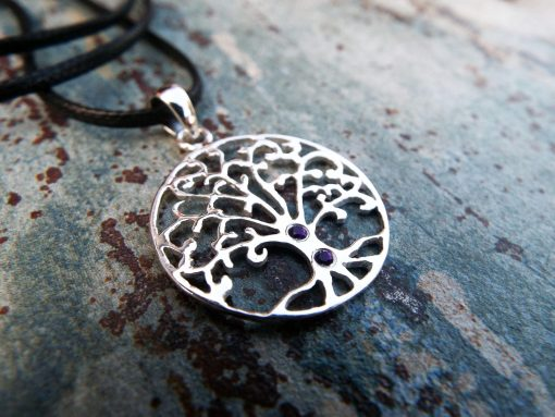 Tree of Life Pendant Silver Amethyst Handmade Necklace Sterling 925 Jewelry Symbol