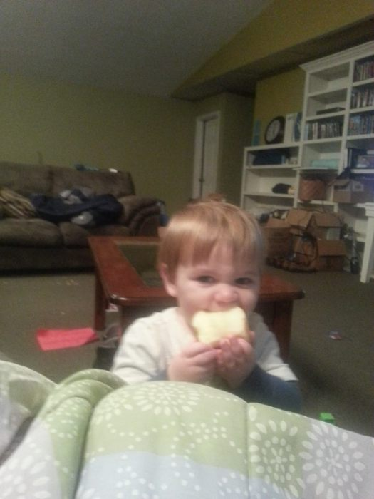 Yep, that's Oliver eating a a whole apple