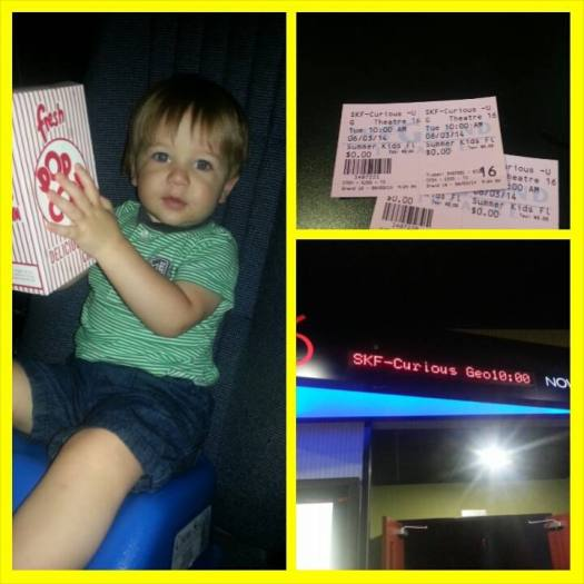 Oliver's first movie at the theatre, he loved Curious George