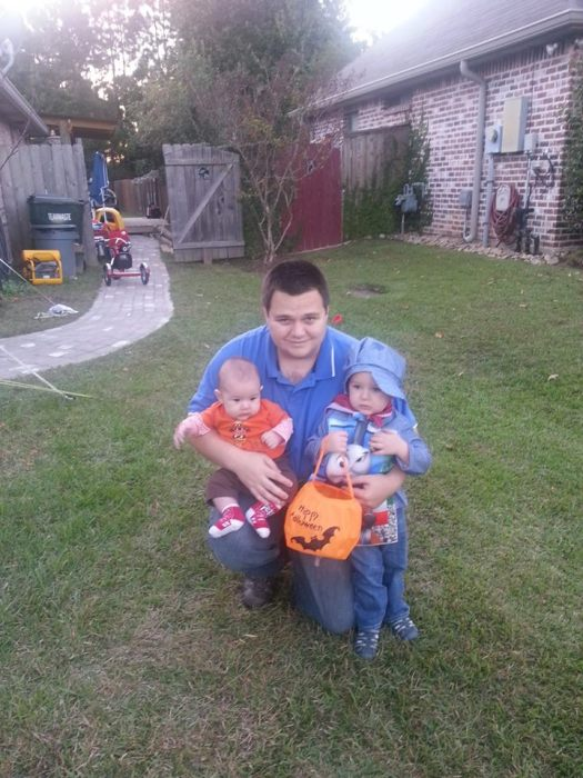 David with the boys on Halloween