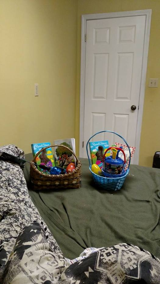 I hid in the office to put together their Easter baskets