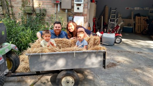 David took kids for hay rides in the trailer for our lawn mower. Happy Birthday Oliver and Isaac. We love you.