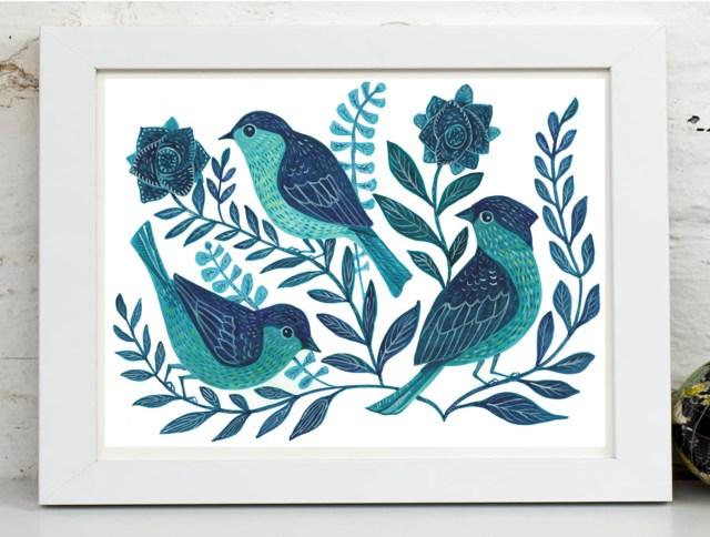 painted birds framed