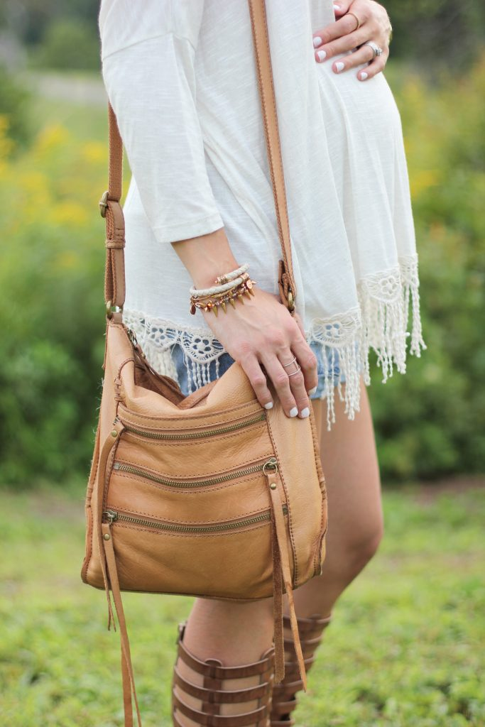 Boho Maternity Style, Fringe top, gladiator sandals, distressed shorts