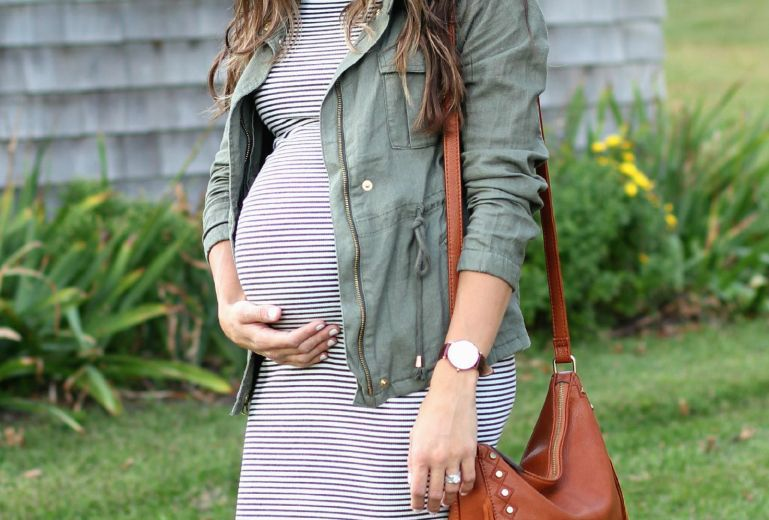 Maternity Style // Field Jacket and Striped Midi Dress