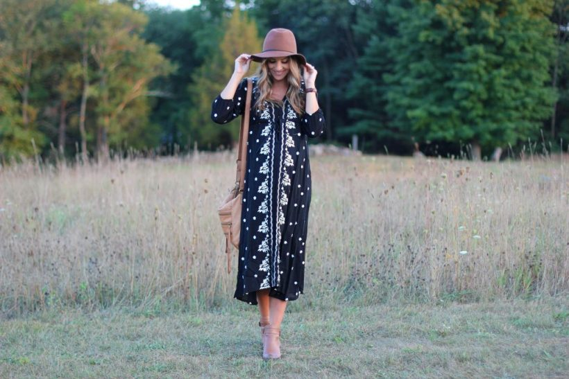 Lauren McBride Maternity Style, Embroidered Dress, Fall Style
