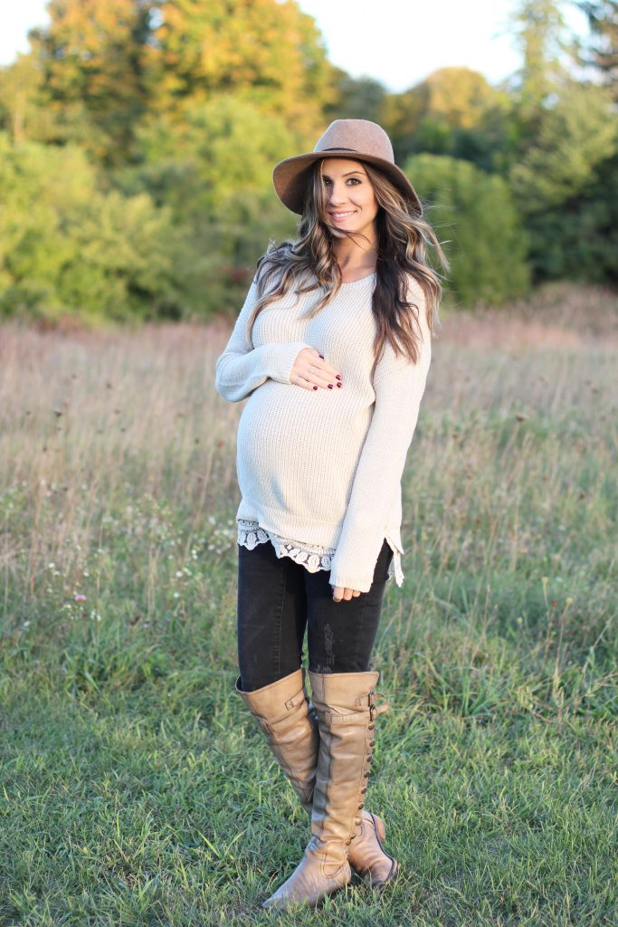 Lace Trim Sweater and Over the Knee Boots, Maternity Style, Fall Fashion - Lauren McBride