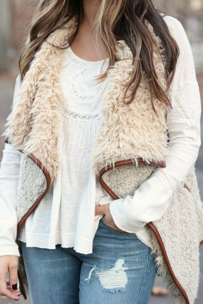 Nursing friendly fashion, Rack Room Shoes, lugged sole booties, faux fur vest, Free People lace top, distressed boyfriend jeans
