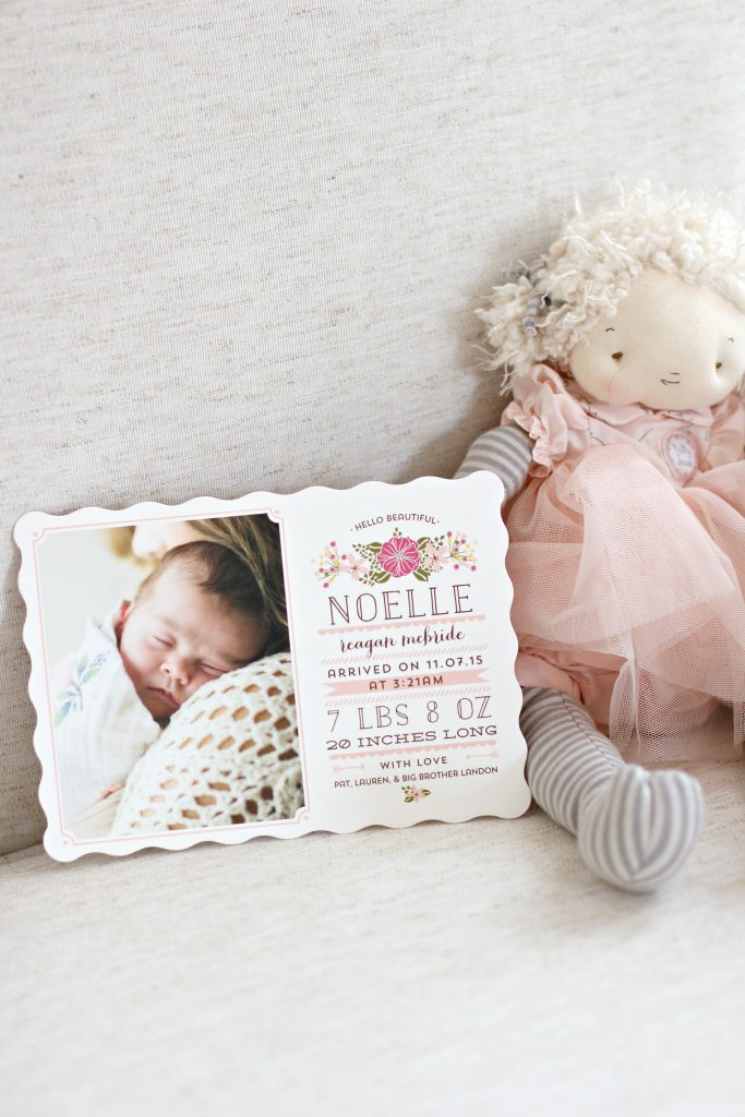 Hello Beautiful baby girl birth announcement by Minted