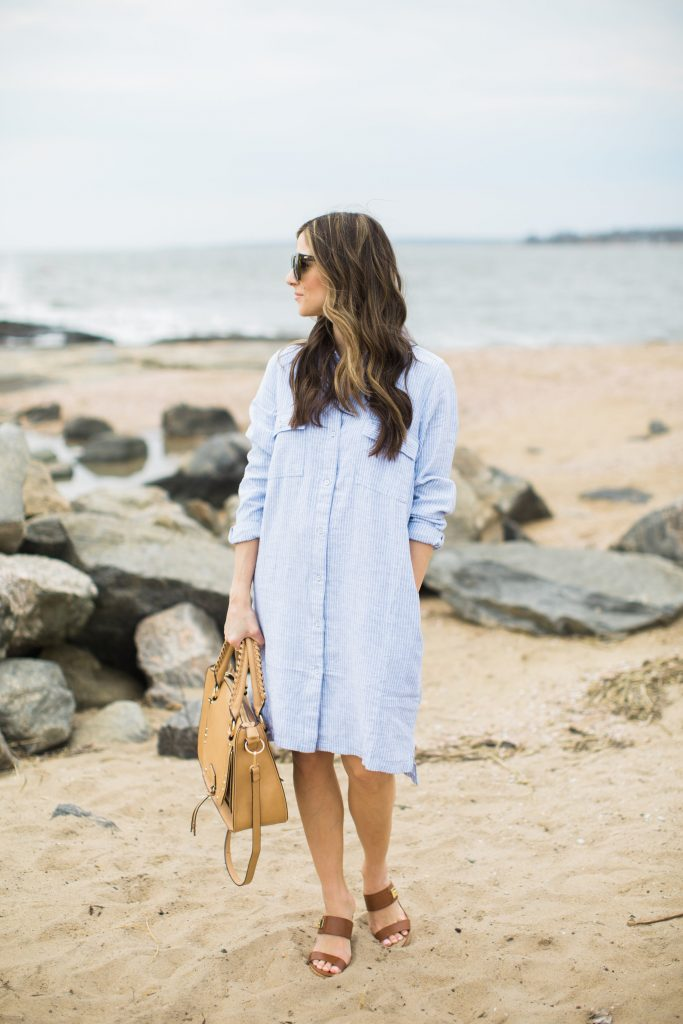 Casual linen shirt dress