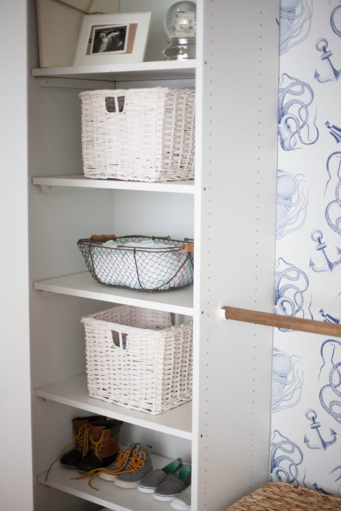 Tips for installing removable wallpaper from Walls Need Love and a cute way to add a big impact to your kid's closet!