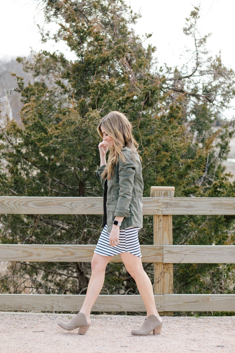 Need inspiration for how to style a striped dress? Adding a cargo jacket and booties is one of three ways in this post!