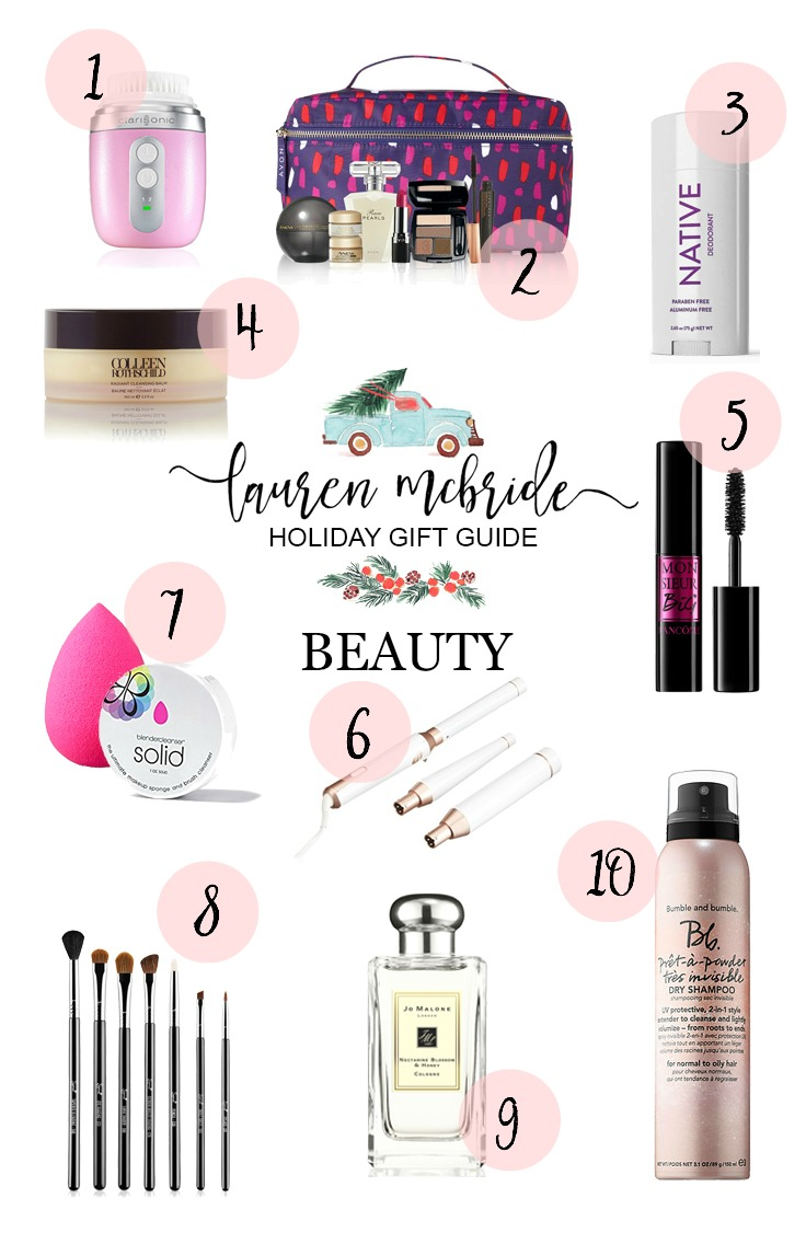 Life and style blogger Lauren McBride shares her holiday gift guide for the beauty lover, including a variety of beauty products ranging in different prices.