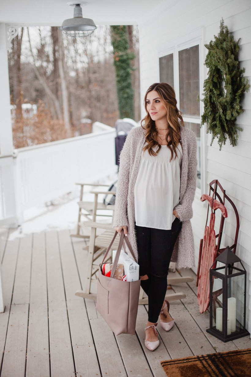 Life and style blogger Lauren McBride shares a Casual Holiday Maternity Outfit that's comfortable yet festive for holiday season.