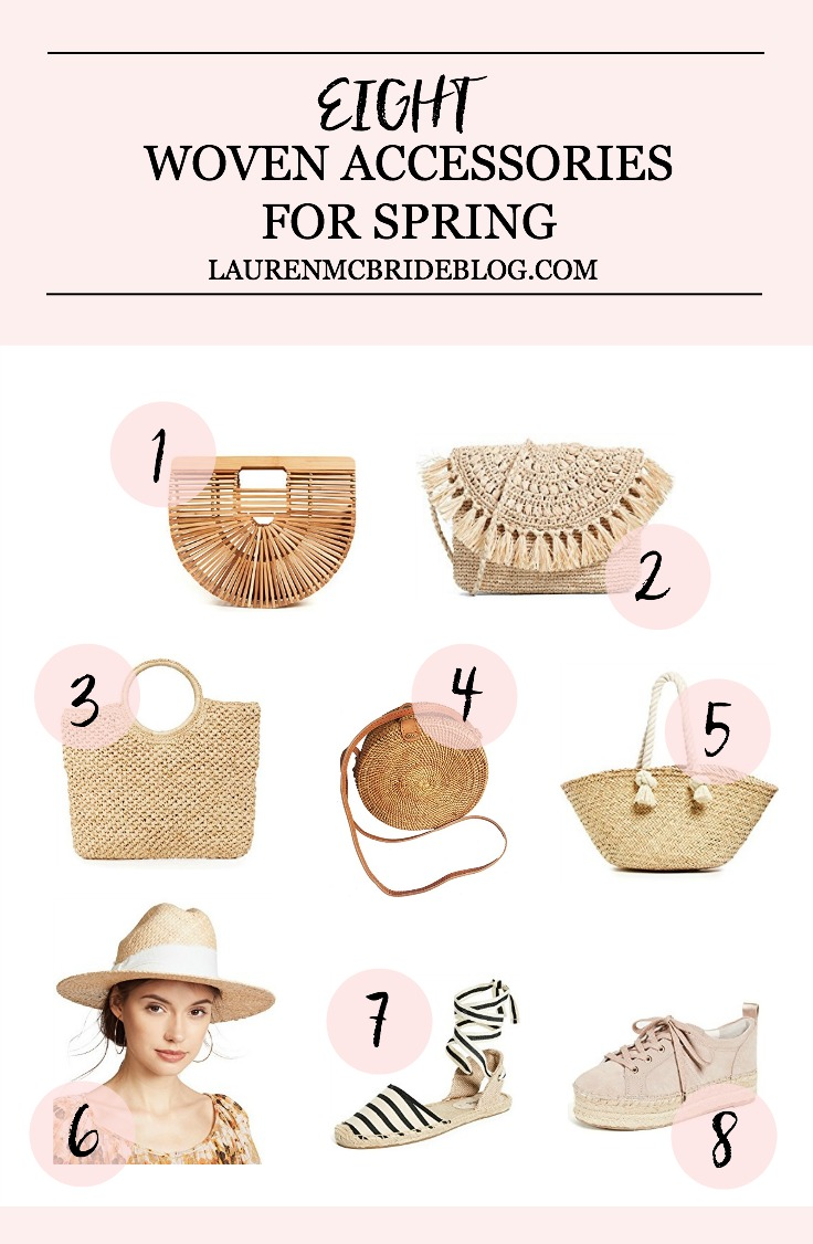 Life and style blogger Lauren McBride shares a roundup of Woven Accessories for Spring including handbags, shoes, and hats.