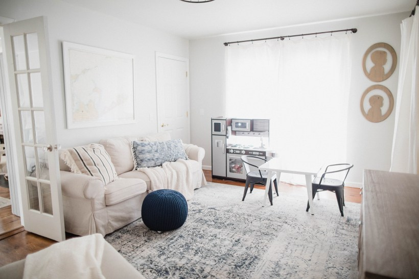 Connecticut life and style blogger Lauren McBride shares her Tips for a Dual Purpose Playroom, including how to seamlessly transition your living room to a playspace and back again.
