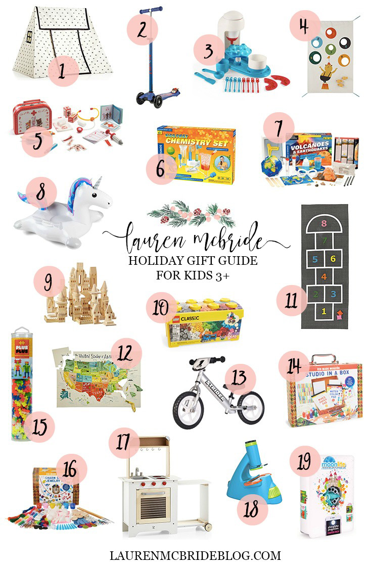 Connecticut life and style blogger Lauren McBride shares a holiday gift guide for kids ages 3 and up featuring fun, active, and educational gift ideas.