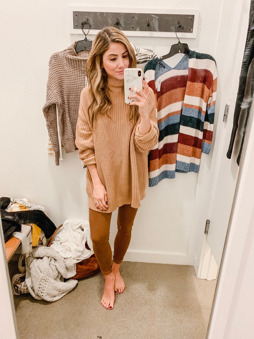 Connecticut life and style blogger Lauren McBride shares her November American Eagle Outfitters try-on featuring layered, cozy options.