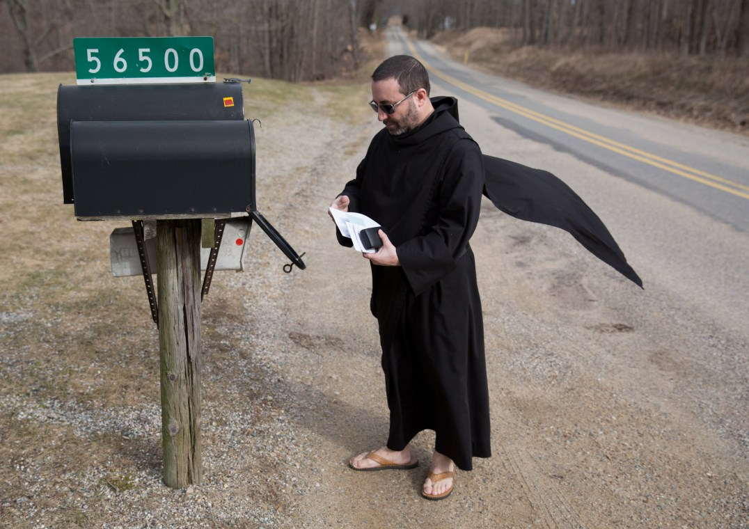 Br. Armand getting the mail at St. Gregory's Abbey, an Episcopal Benedictine monastery, Three Rivers, Michigan, 2018.