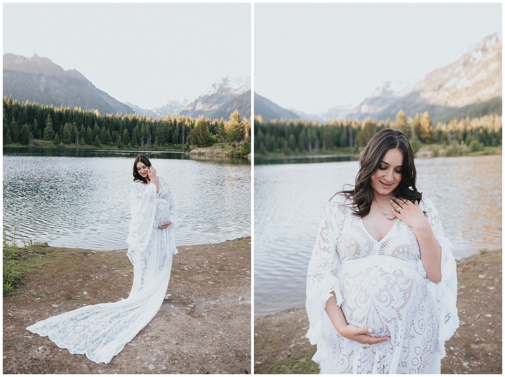Lauren Ryan Photography, Easton Washington, PNW, Flutter Dresses, Gold Creek Pond, Maternity Session, snoqualmie pass
