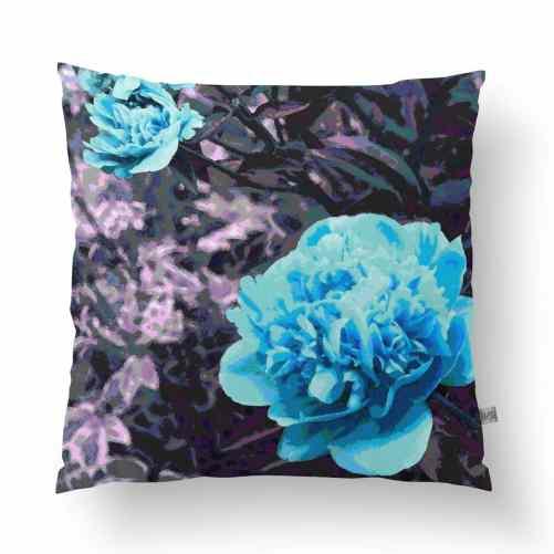 Blue Peony Linen Cushion - Handmade in Australia
