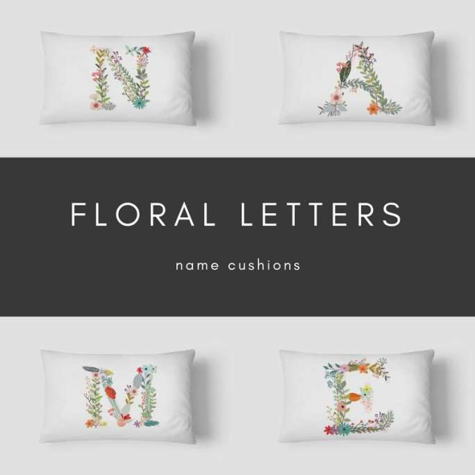 Floral Initial Cushions