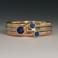 14KY/P/W Gold Stacking Rings, w/Blue Sapphires 0.47ctw