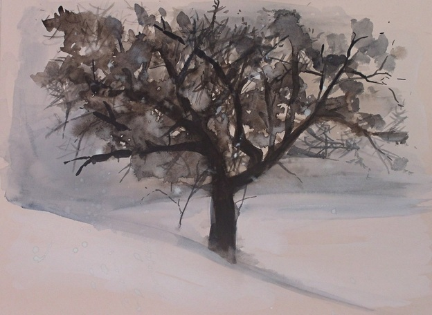 Woodland Winter Tree Landscape Original Artwork by Laurie Rohner