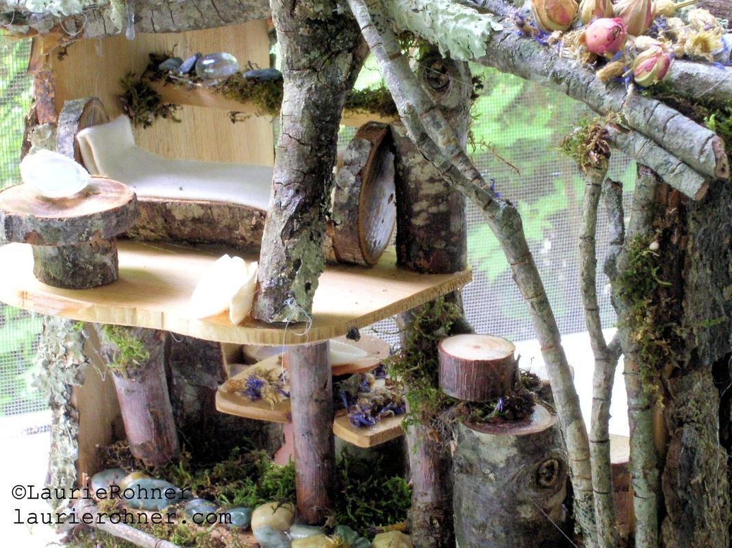 Handmade woodland fairy house.