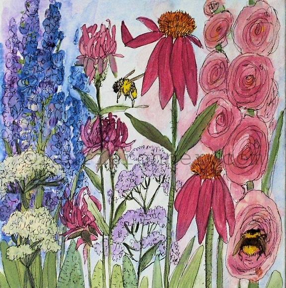 Botanical Nature Art Original Acrylic Painting Garden