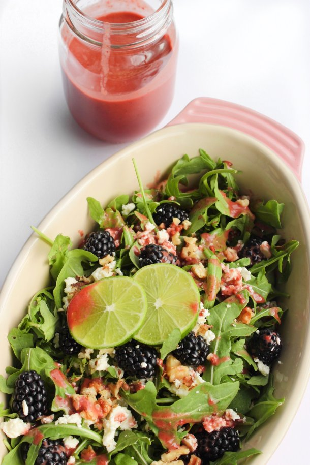 Arugula Blackberry Lime Salad [+ Homemade Blackberry-Basil Dressing]