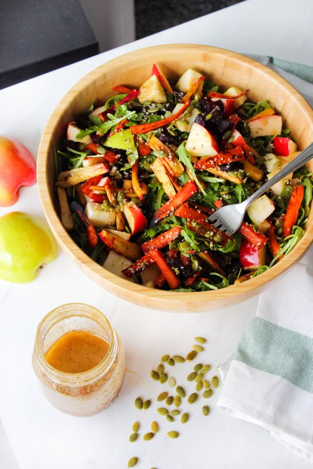 Fall Harvest Roasted Veg Salad w/ Balsamic Maple Dressing [Paleo]