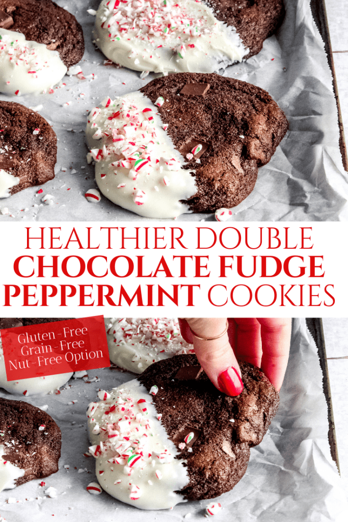 HEALTHIER DOUBLE CHOCOLATE FUDGE PEPPERMINT COOKIES