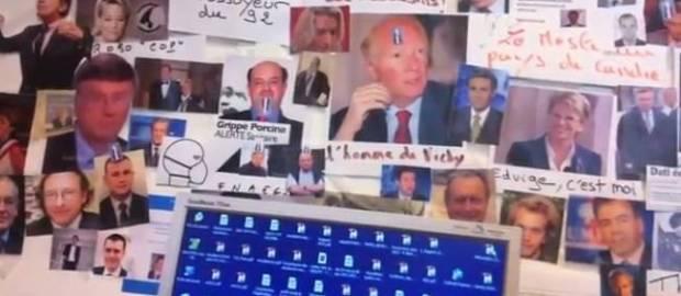 """Capture vidéo du """"mur des cons"""" filmé en cachette au siège du Syndicat de la magistrature. © DR"""