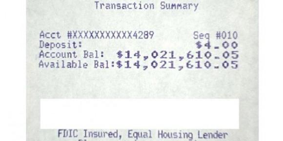 Le ticket de solde de compte crédité de 14 millions de dollars.