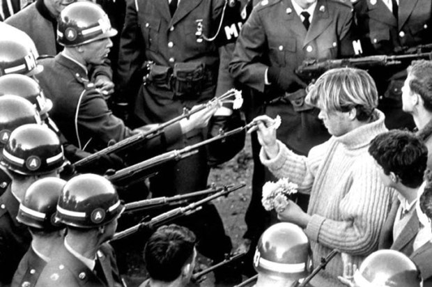 Un manifestant mettant des fleurs au bout des armes des forces de l'ordre. Cette photo a été prise le 21 octobre 1967 durant la marche pour la Manifestation du Pentagone.